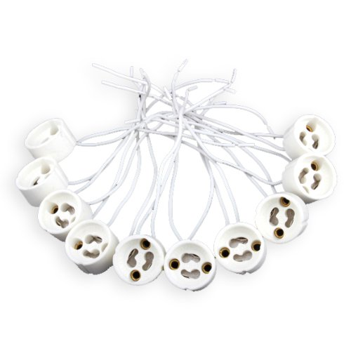 10pcs gu10 led cfl halogen light lamp holder wire