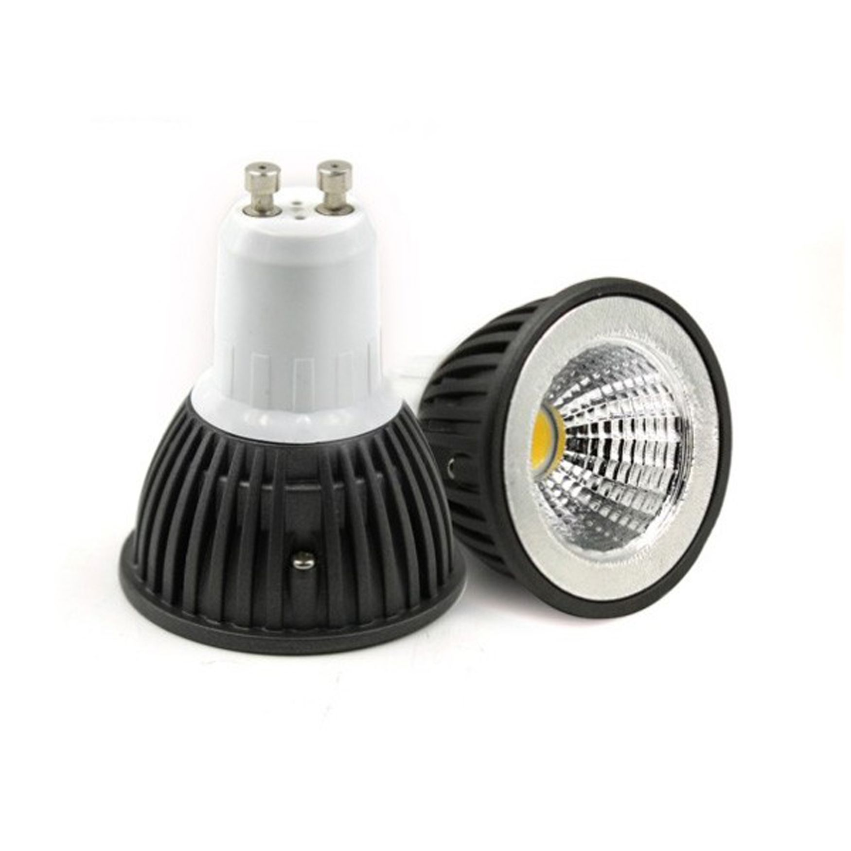 dimmable gu10 3w cob led bulb in warm white in black shell. Black Bedroom Furniture Sets. Home Design Ideas