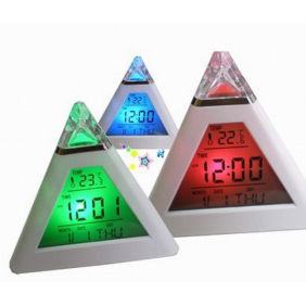 JSG Accessories 7 Colours LED Pyramid Digital Alarm Clock with Thermometer