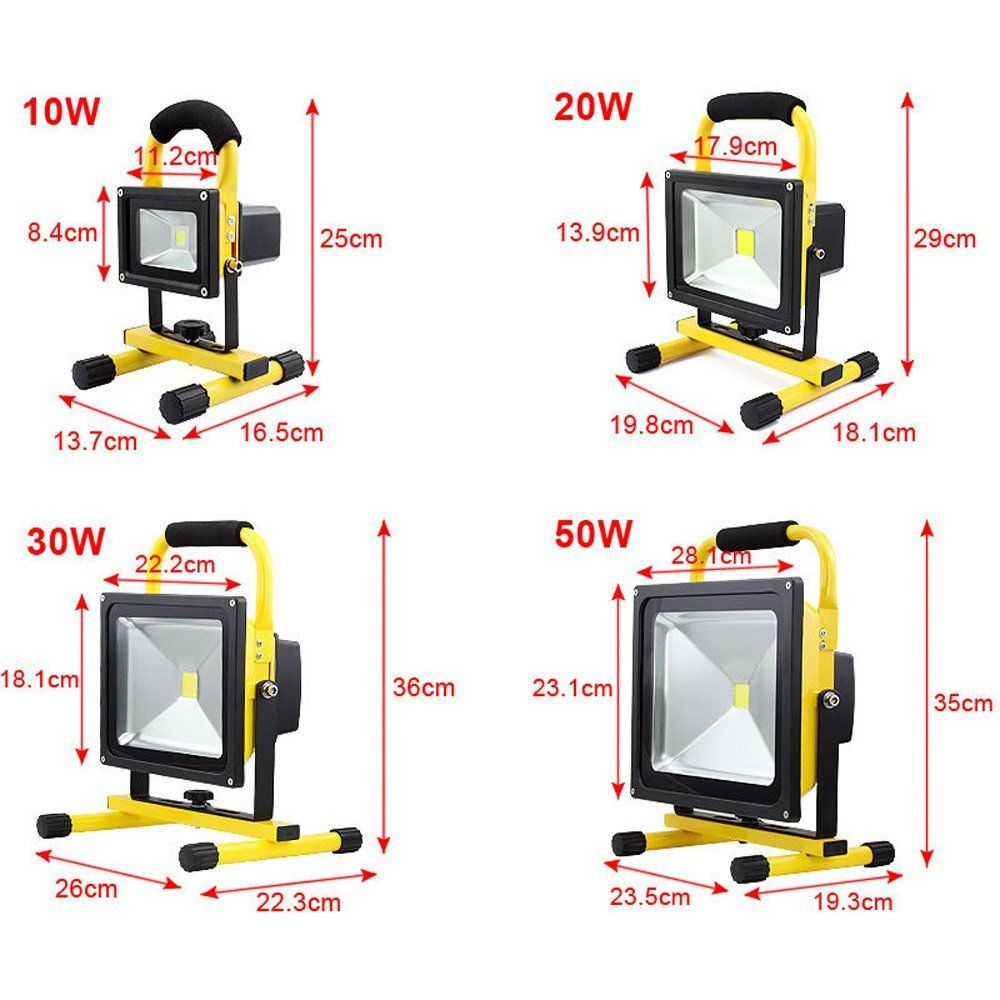 portable rechargeable led flood light work site light. Black Bedroom Furniture Sets. Home Design Ideas